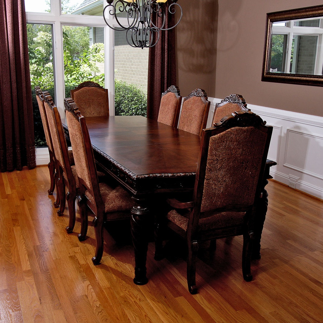 Hand Carved Mahogany Dining Table And Chairs ...