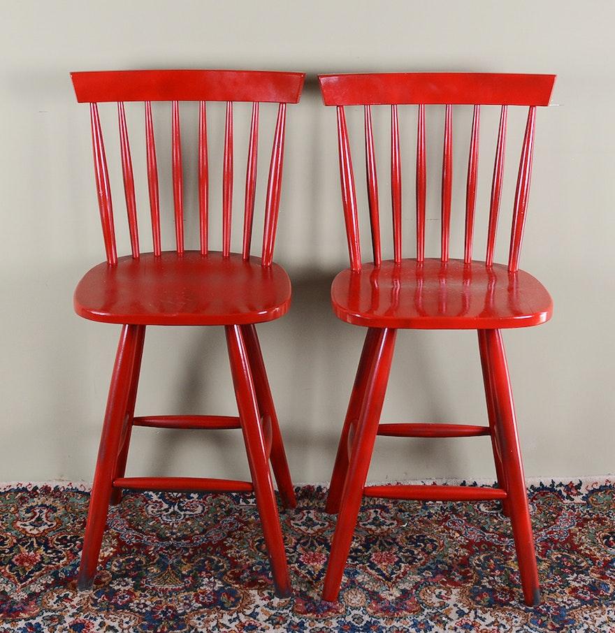 red spindle back bar stools ebth. Black Bedroom Furniture Sets. Home Design Ideas