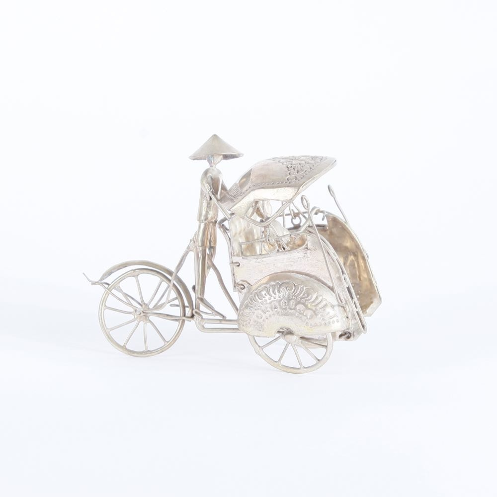 Silver Plated Pedicab Figurine