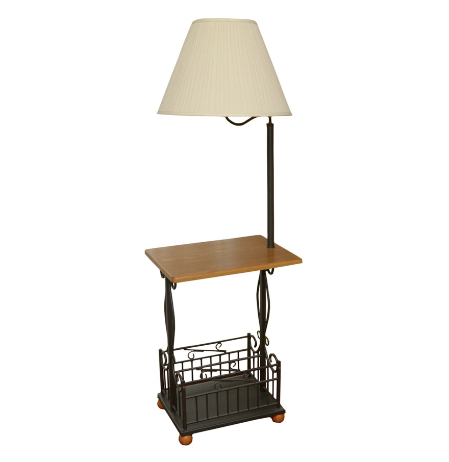 Lamp side table with magazine rack ebth lamp side table with magazine rack geotapseo Gallery