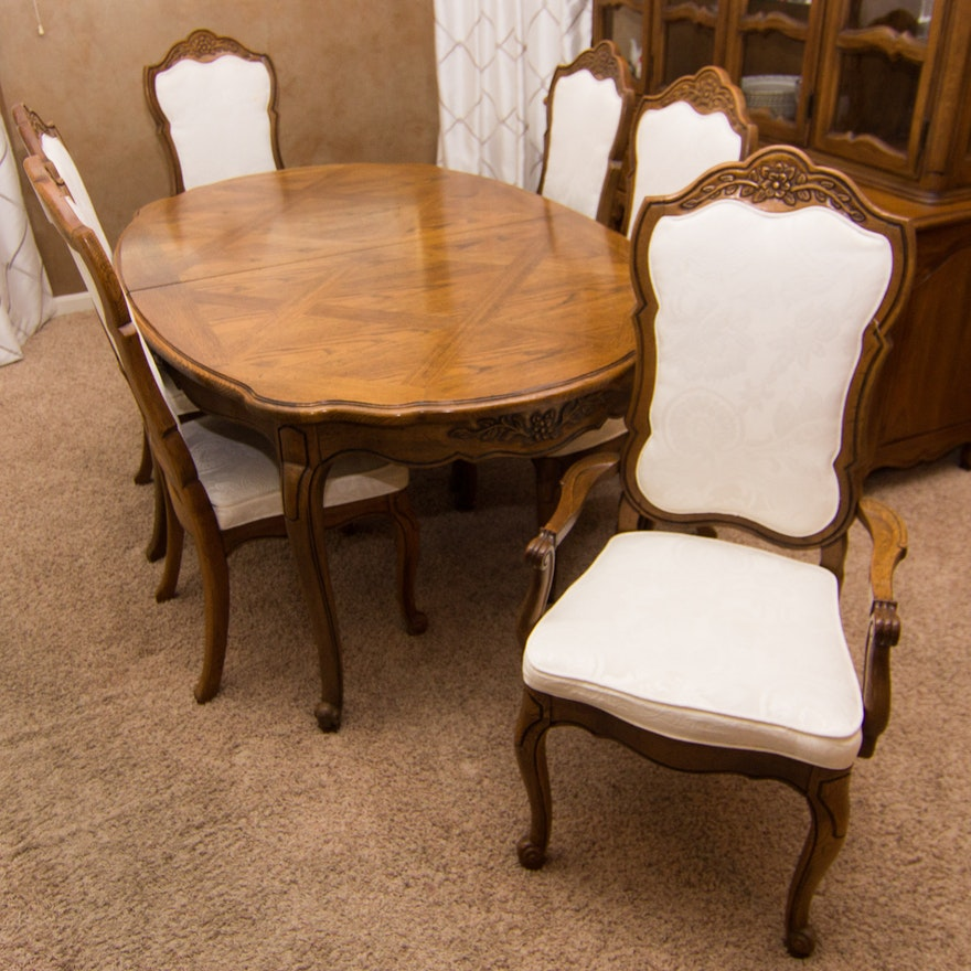Thomasville French Provincial Style Oak Dining Table And Chairs Ebth