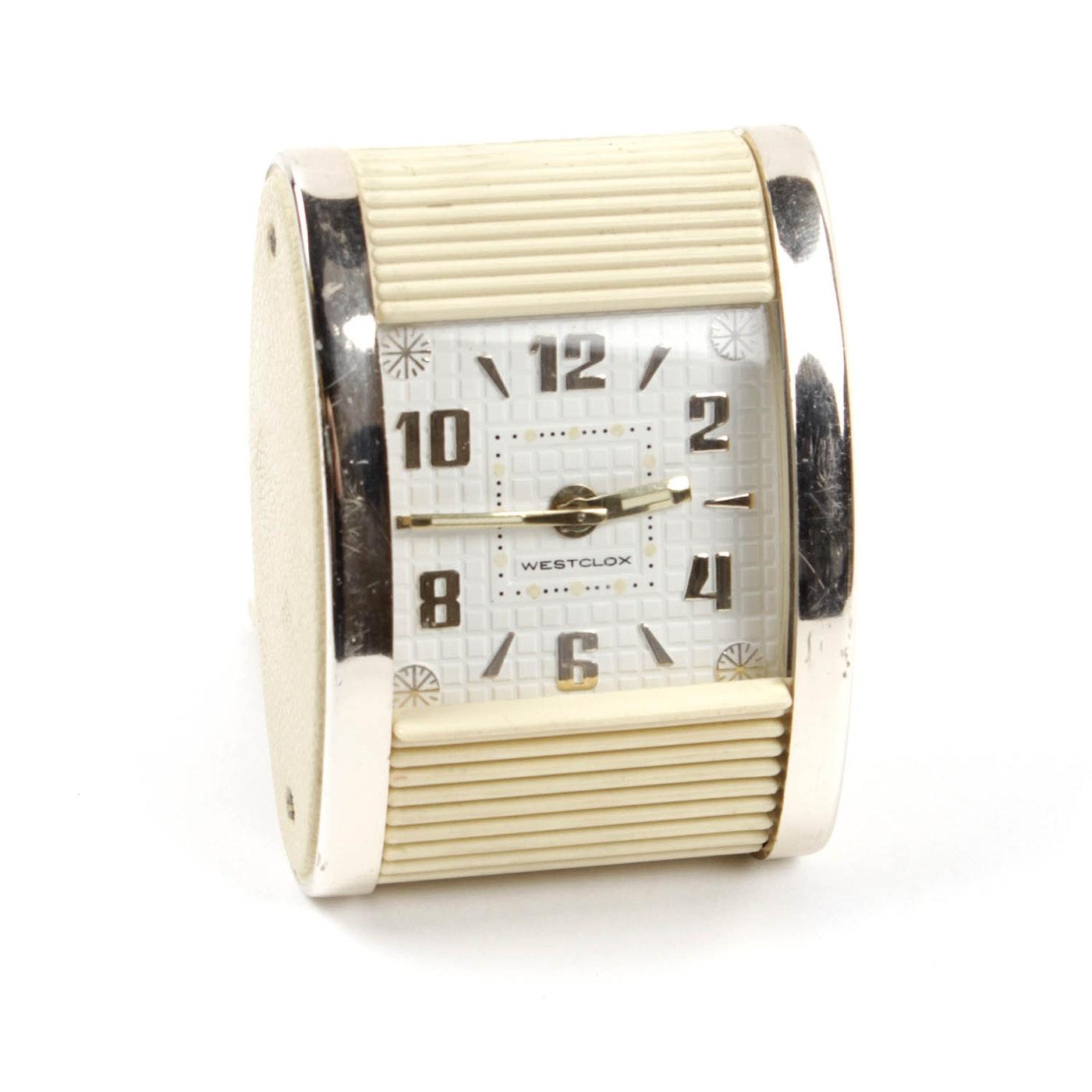 1950s mid century modern westclox roll top travel alarm for Best alarm clock 2016