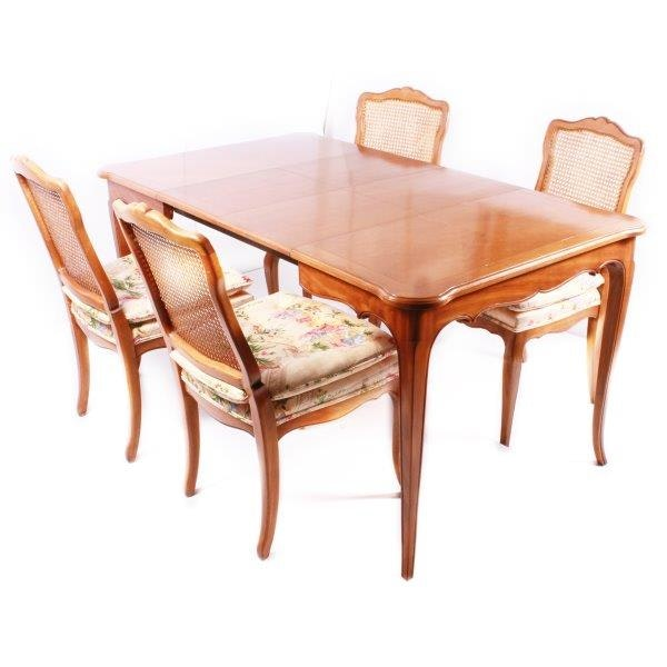 Louis XVI Style Dining Table with Four Chairs