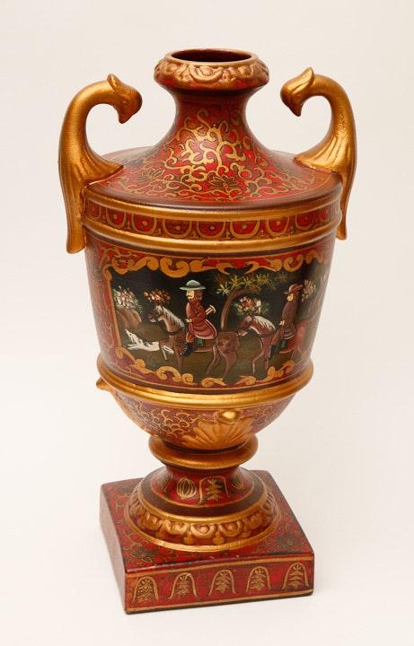 Pair of large decorative urn vases ebth - Large decorative vases and urns ...