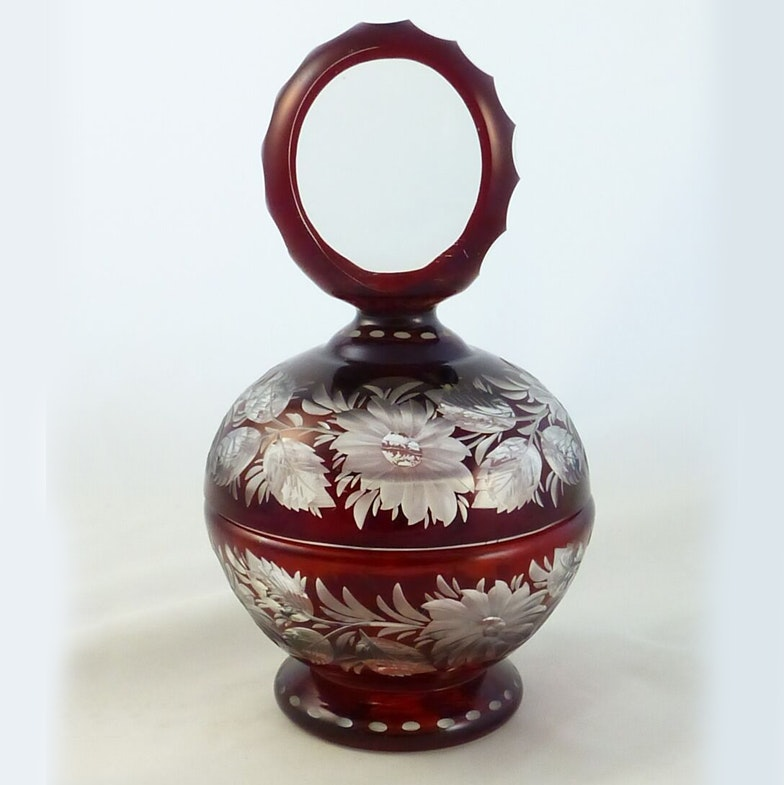 Antique Ruby Glass Covered Candy Dish Ebth