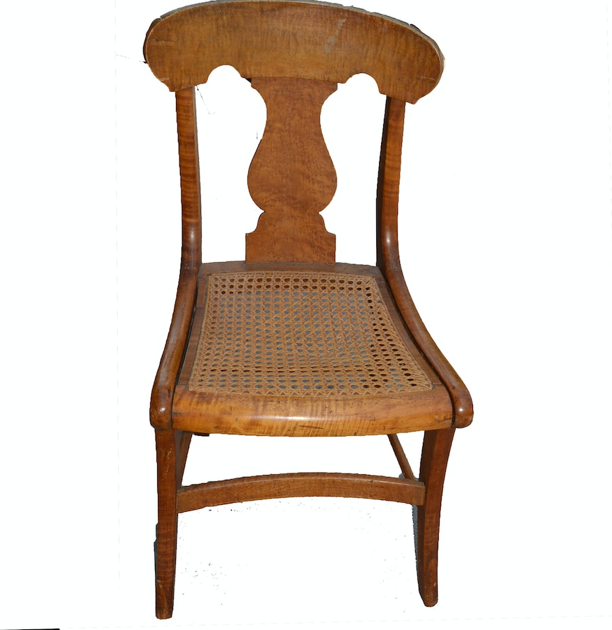 antique maple chair with cane seat ebth. Black Bedroom Furniture Sets. Home Design Ideas