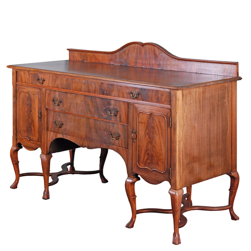 Queen Anne Revival Style Mahogany Sideboard Ebth
