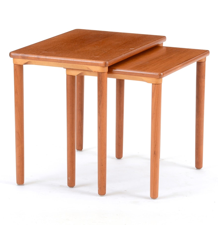 Contemporary Nesting Tables ~ Mid century modern teak nesting end tables ebth