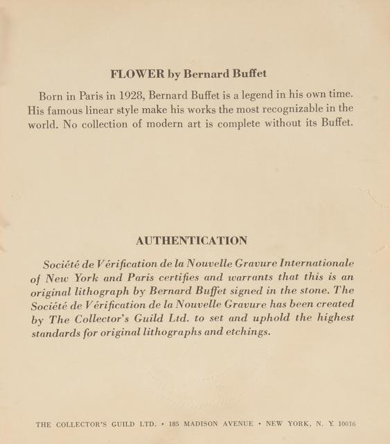 """Black Flower 21st Century Op Art Set: Bernard Buffet Original Lithograph """"Flower"""" : EBTH"""