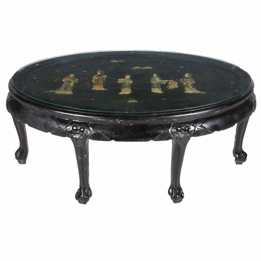 Vintage Chinese Lacquered Wooden Oval Coffee Table With Liqué Design