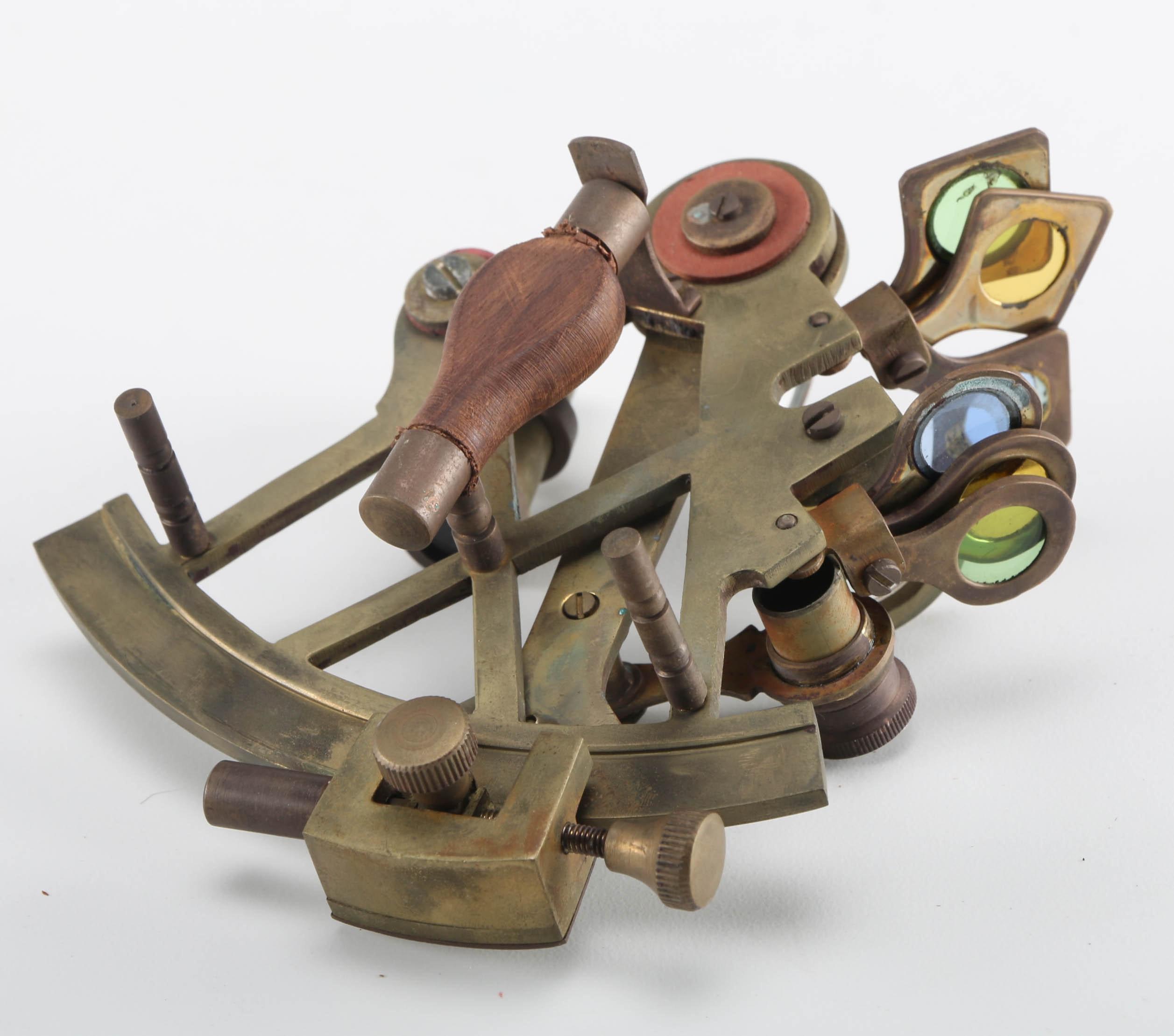 Brass Marine Sextant in Teak Box