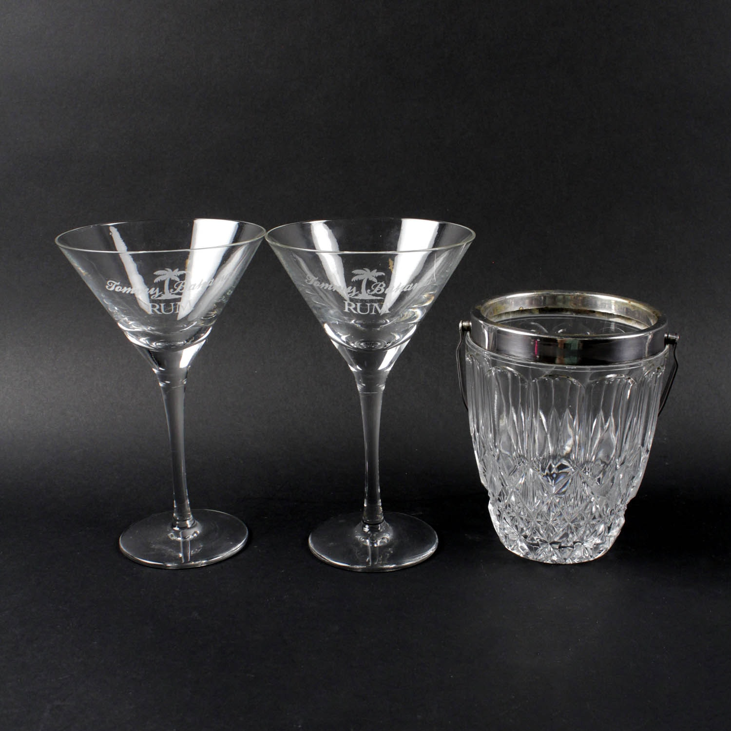 Nice Crystal Ice Bucket And Tommy Bahama Rum Martini Glasses ...