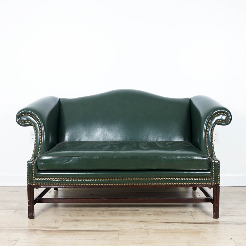Cabot Wrenn Emerald Leather Loveseat