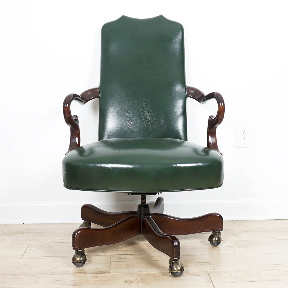 Cabot Wrenn Emerald Leather Rolling Armchair