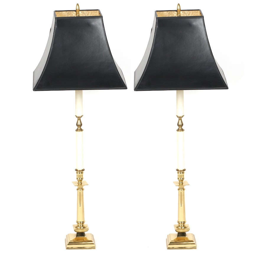 Pair Of Brass Table Lamps With Black Shades Ebth