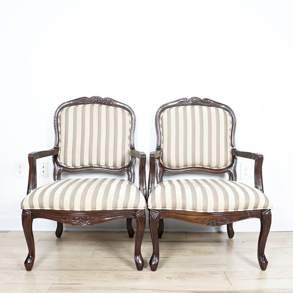 Louis XV Style Chairs with Stripes