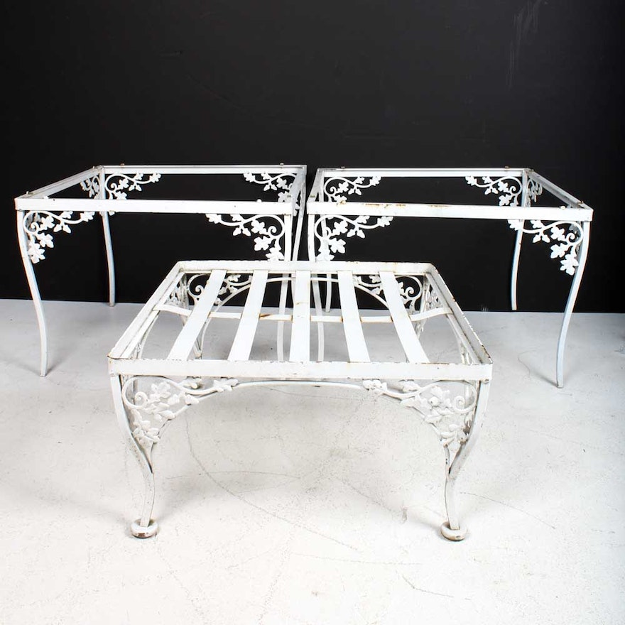 Vintage Wrought Iron Patio Accent Table Frames