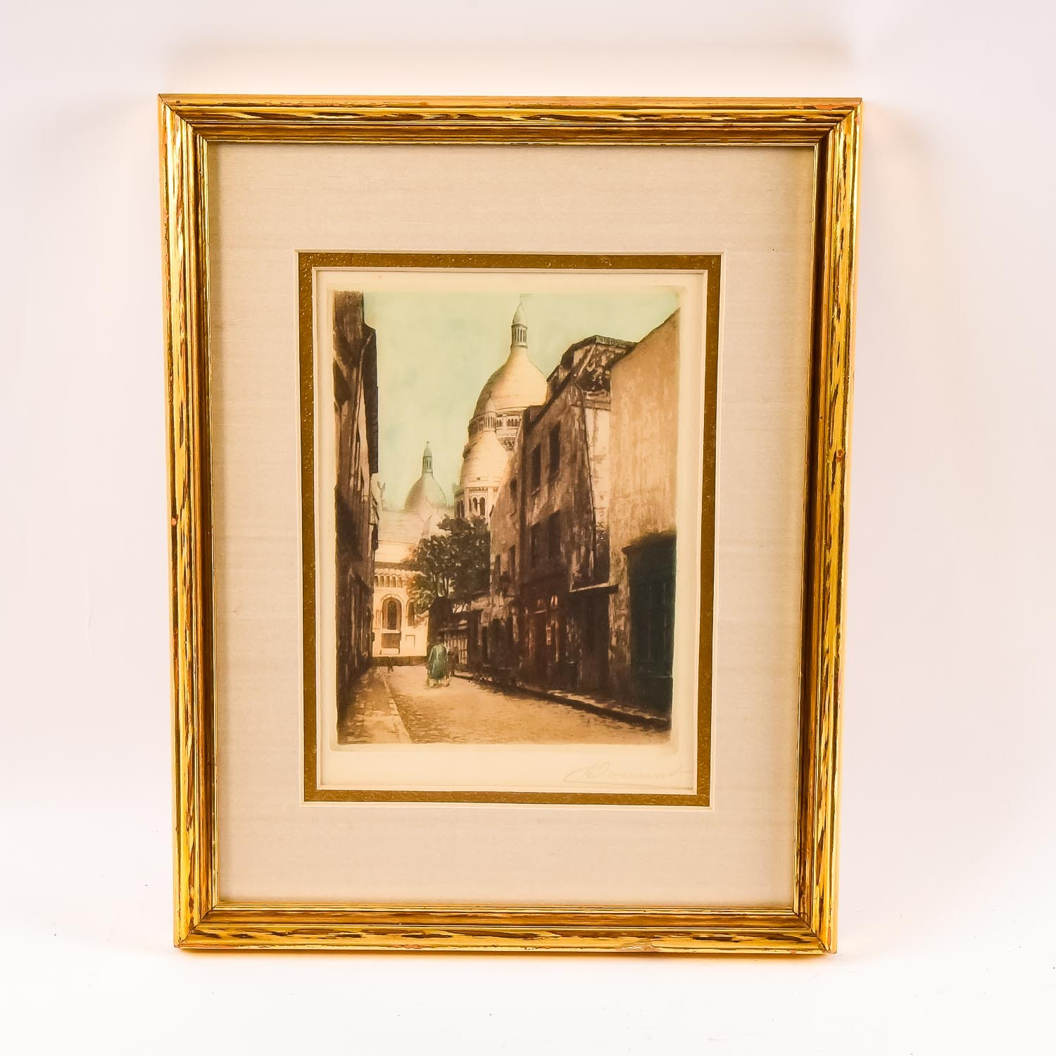 Signed Colored Print of Street Scene