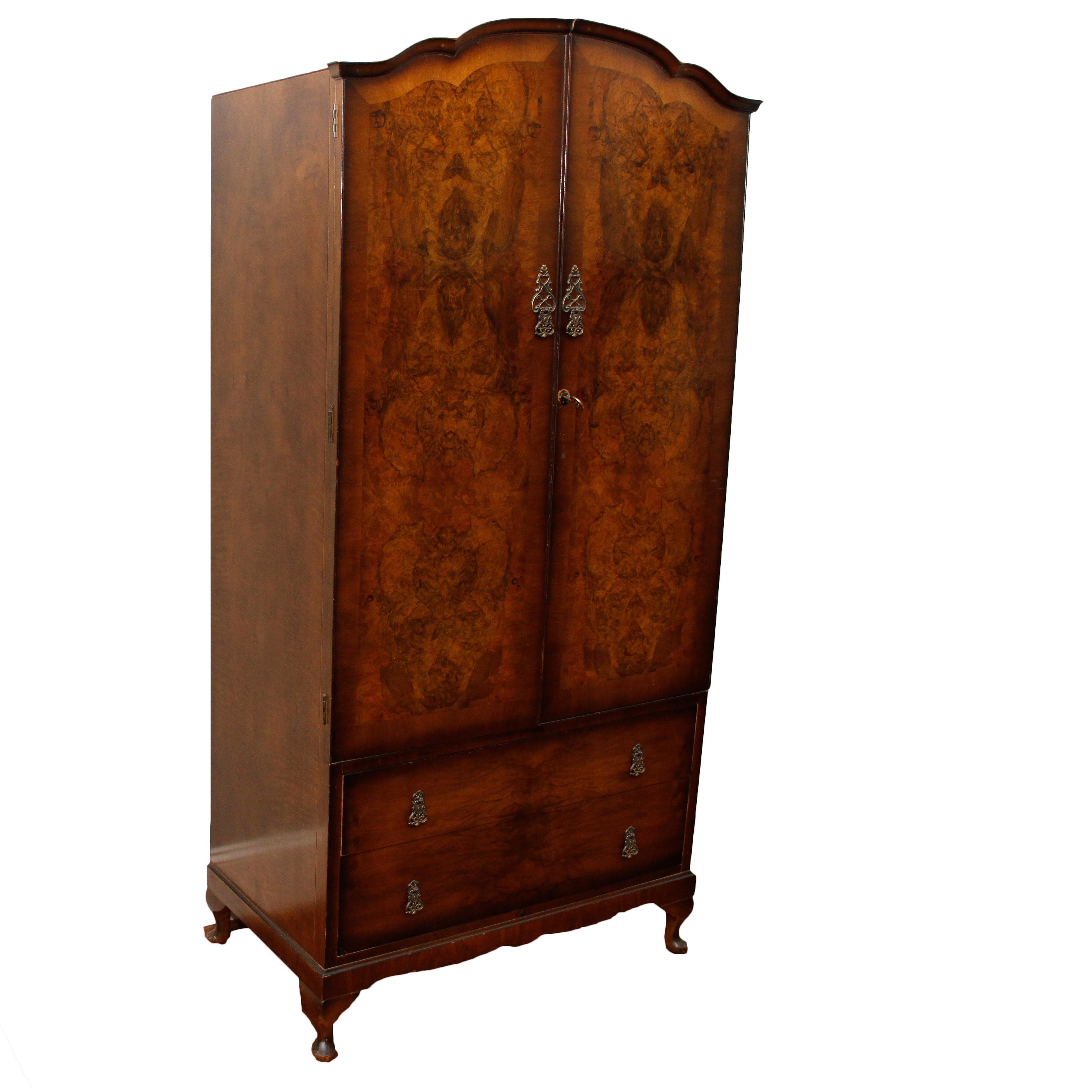 Gentil Vintage Golden Key Burled Wood Armoire ...