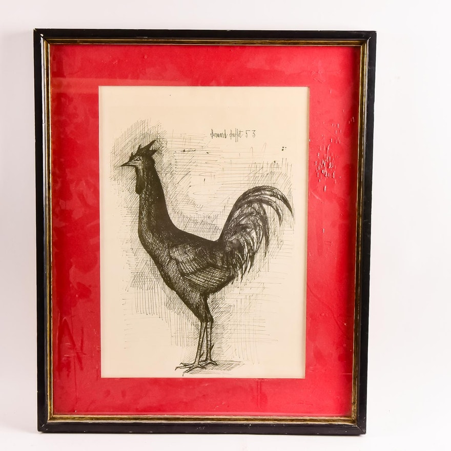 Enjoyable Bernard Buffet Lithograph The Cock Home Interior And Landscaping Palasignezvosmurscom