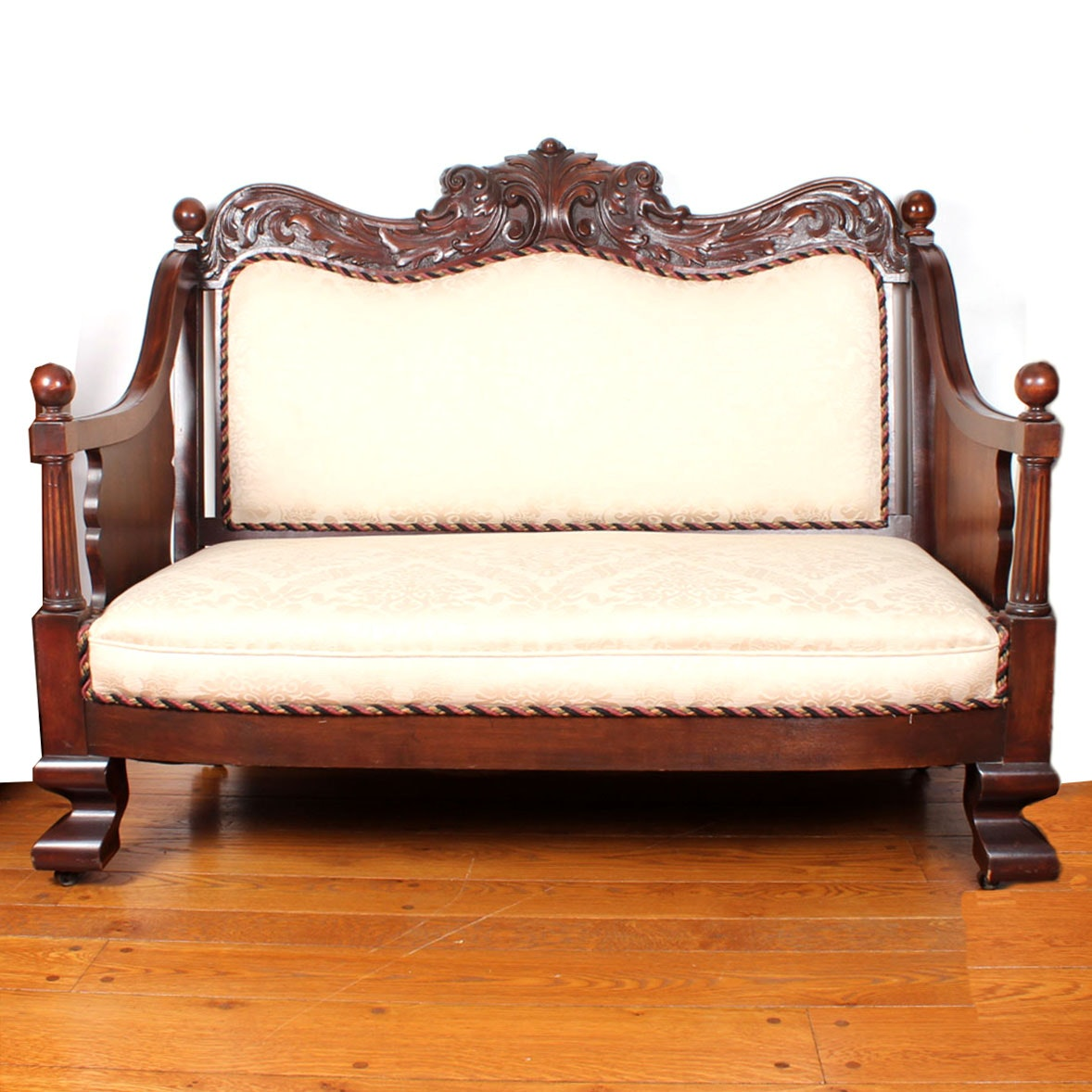 Carved Walnut Empire Settee