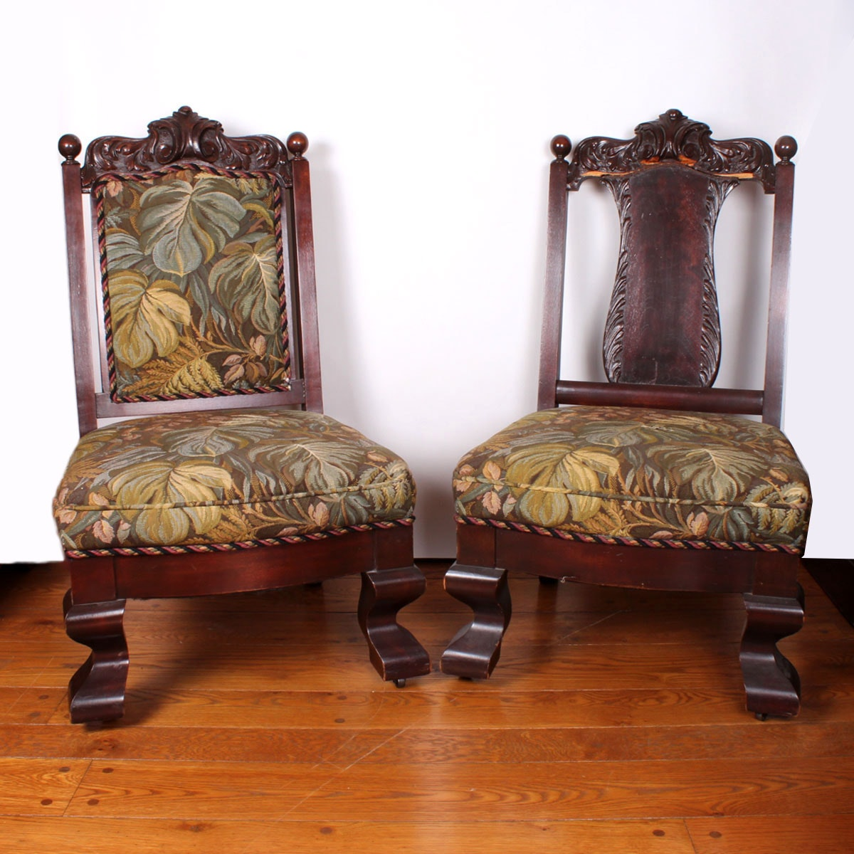 Carved Walnut Empire Parlor Chairs