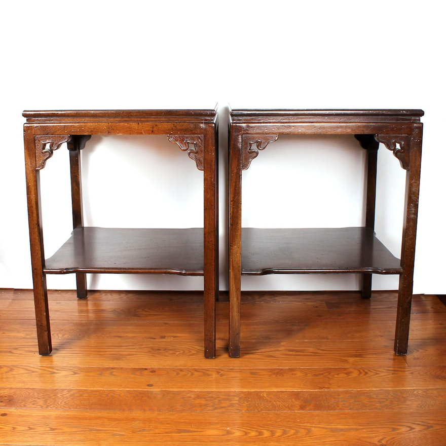 Cool Pair Of Double Tiered Walnut Side Tables From Hickory Chair Furniture Co Machost Co Dining Chair Design Ideas Machostcouk