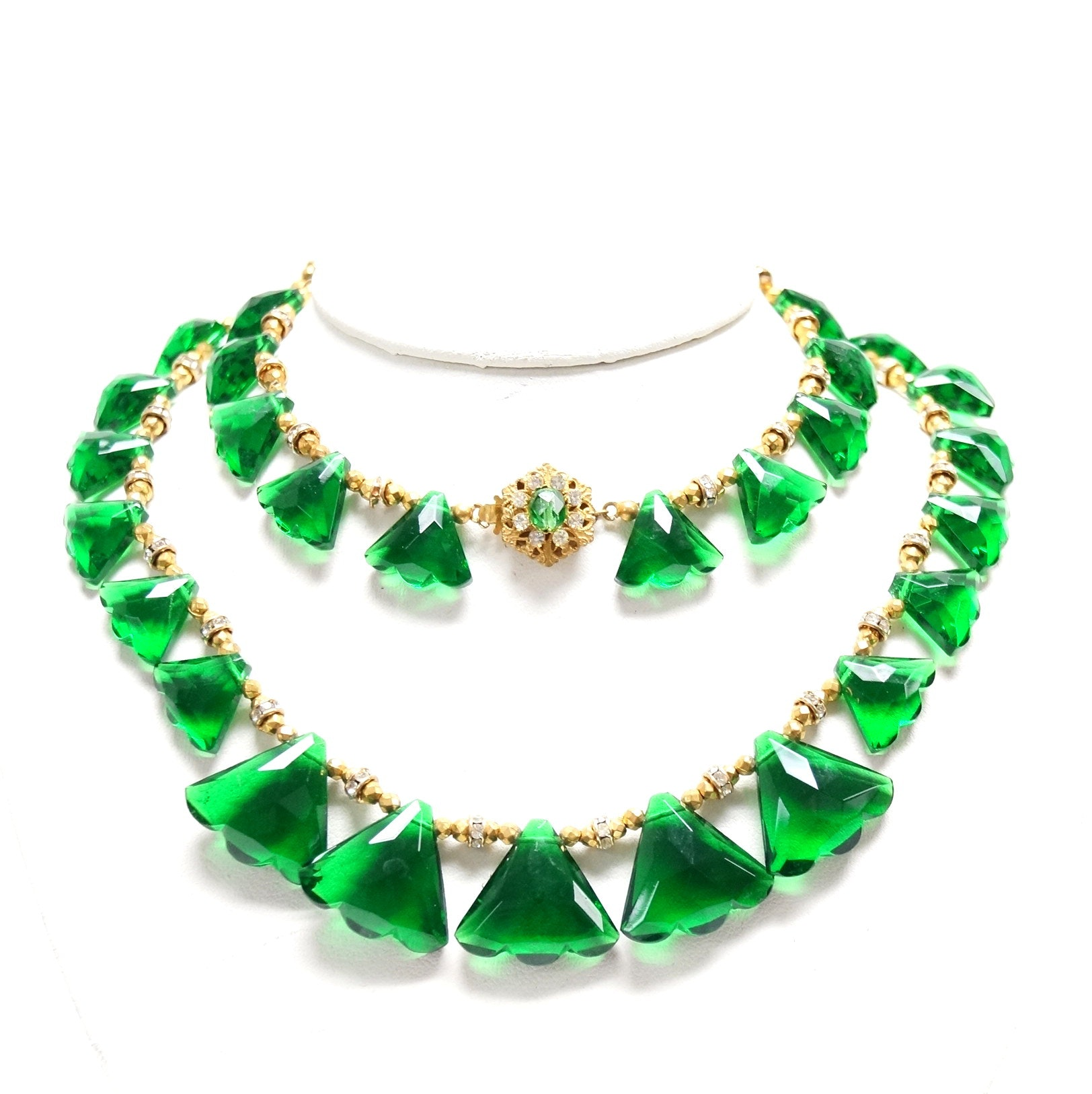 Vintage Miriam Haskell Green Glass Necklace