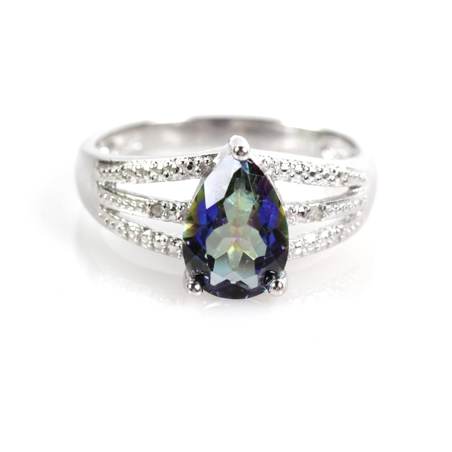 Sterling Silver Ring with Diamonds and Blue Green Synthetic Quartz
