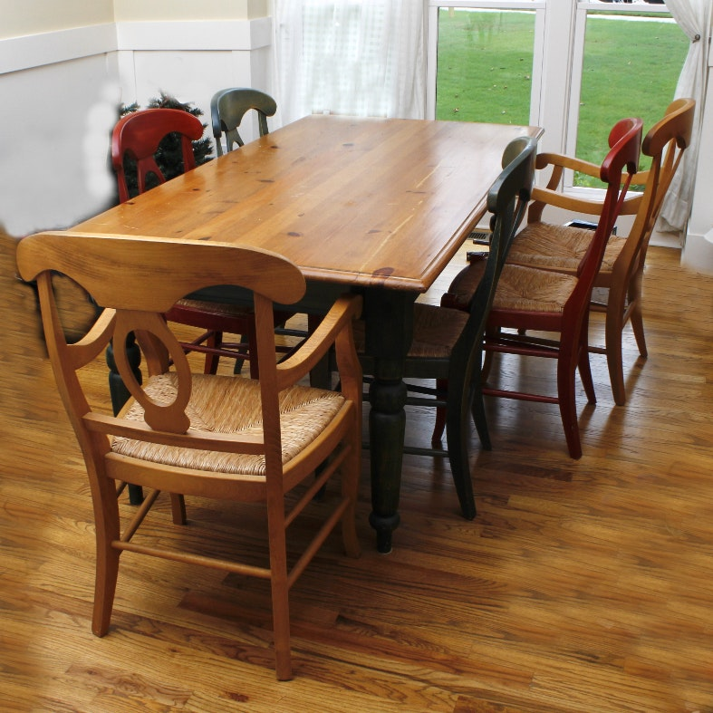 Pine Country Style Dining Table and Pottery Barn Napoleon Chairs