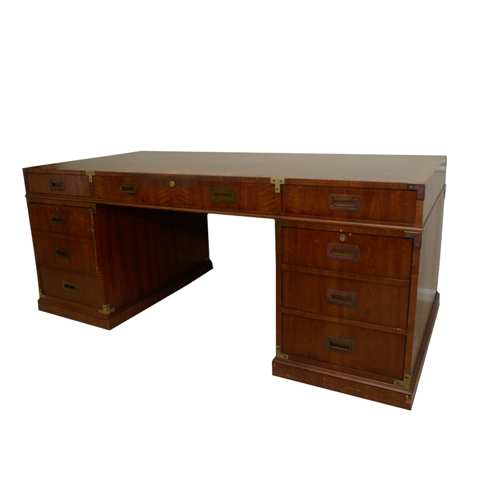 Mid Century Campaign Style Desk Ebth