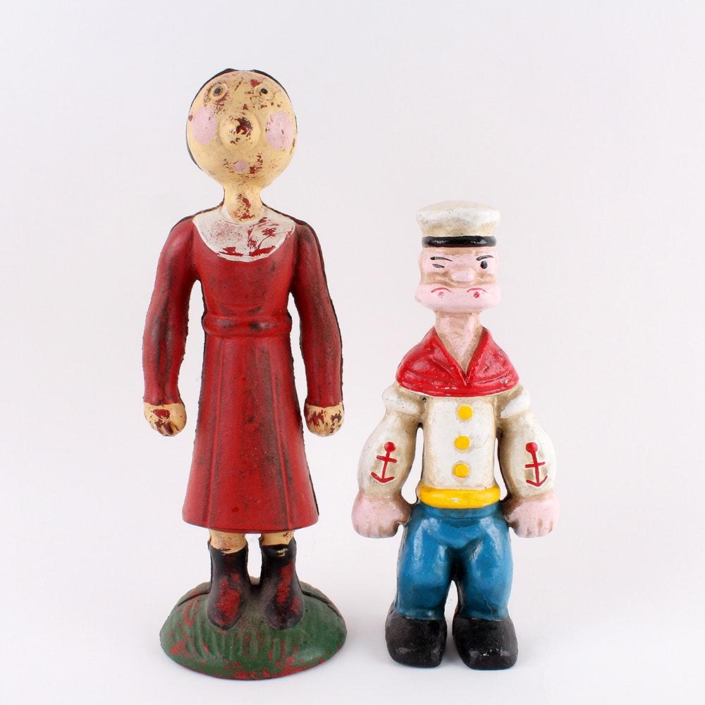 Vintage Popeye and Olive Oyl  Cast Iron Banks