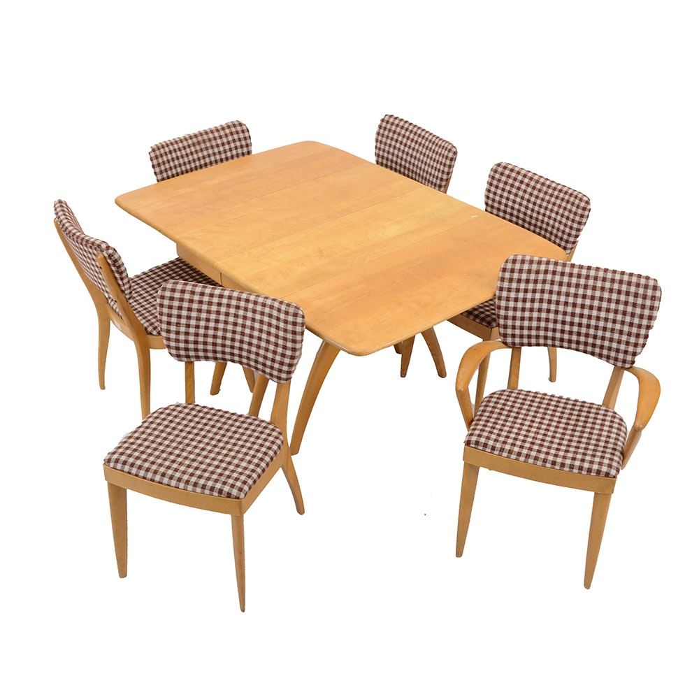 Maple Kitchen Table With Chair And Bench Ebth: Maple Heywood Wakefield Drop-Leaf Dining Table And Six