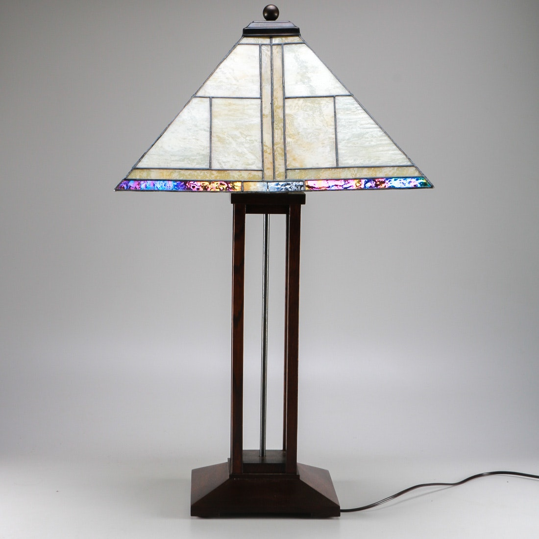 Stickley Mission Style Lamp With Slag Glass Shade Ebth