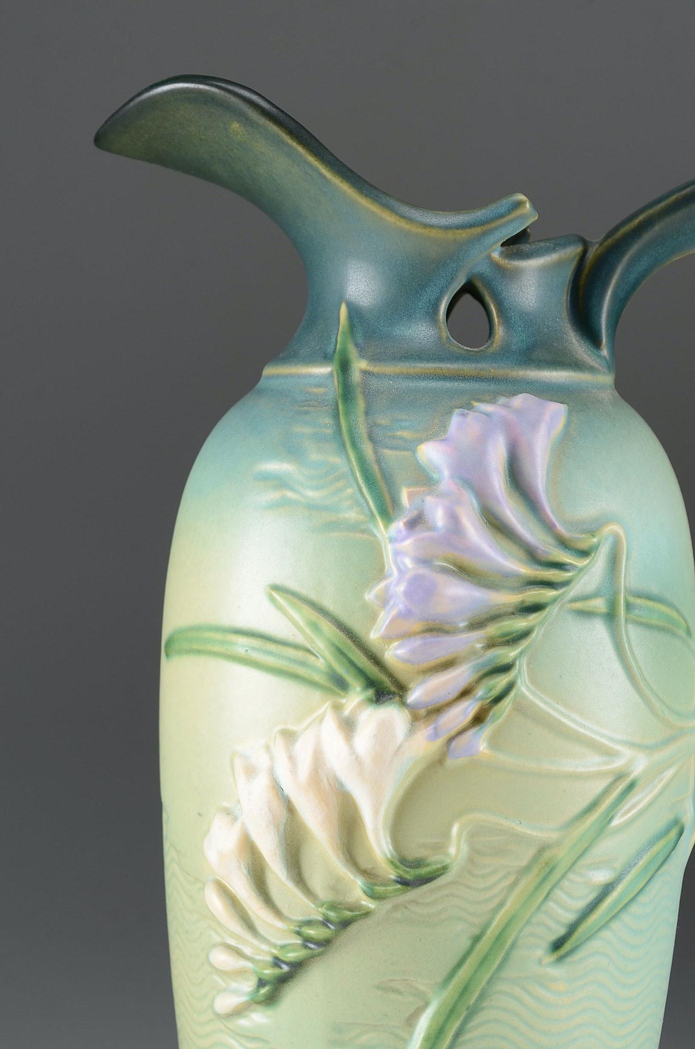 "Roseville Auto Sales >> Roseville Art Pottery ""Freesia"" Large Green Pitcher : EBTH"
