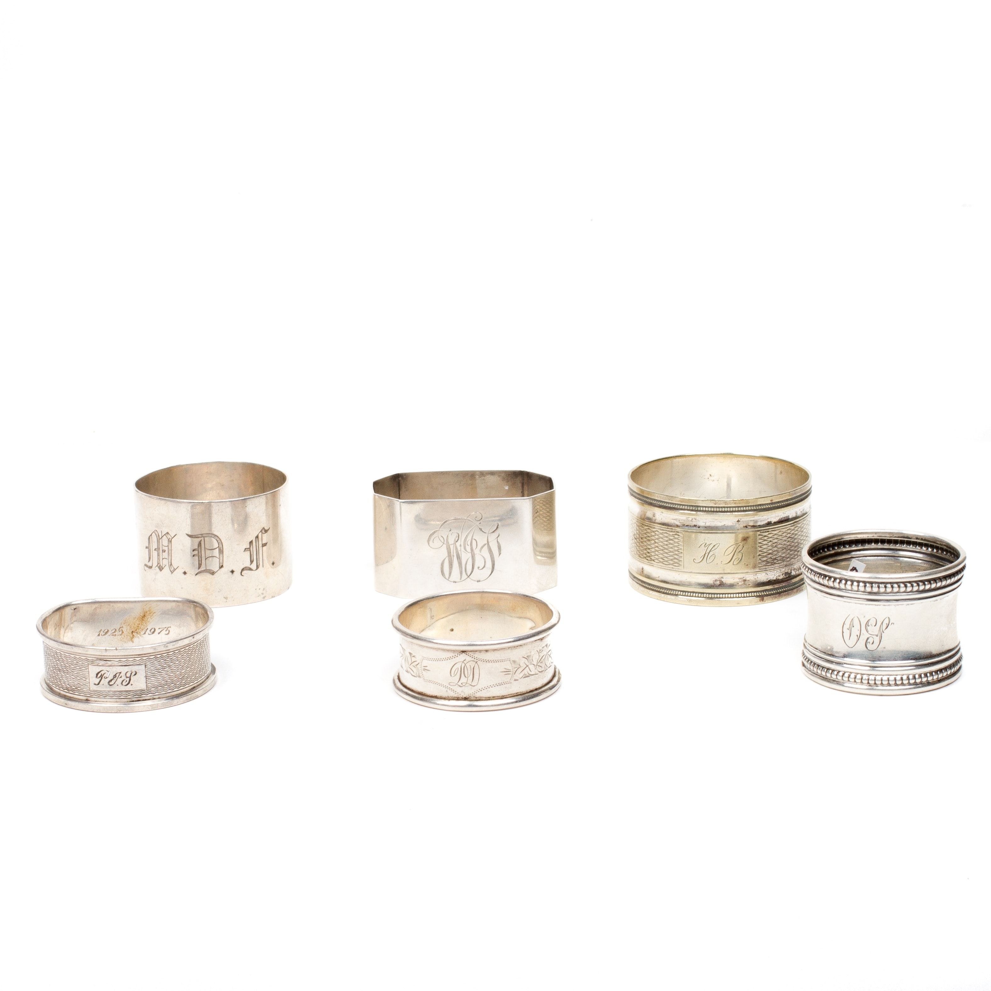 Collection of Six Sterling Silver Napkin Rings