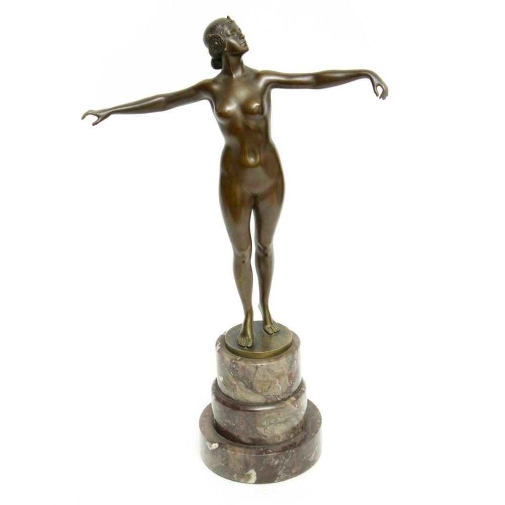 Schmidt-Hofer Bronze Figure of a Nude Woman