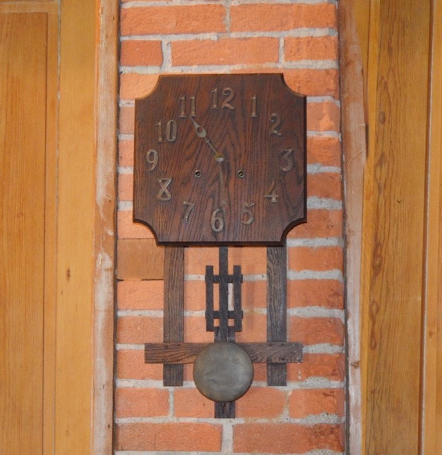 Oak mission style wall clock ebth oak mission style wall clock amipublicfo Gallery