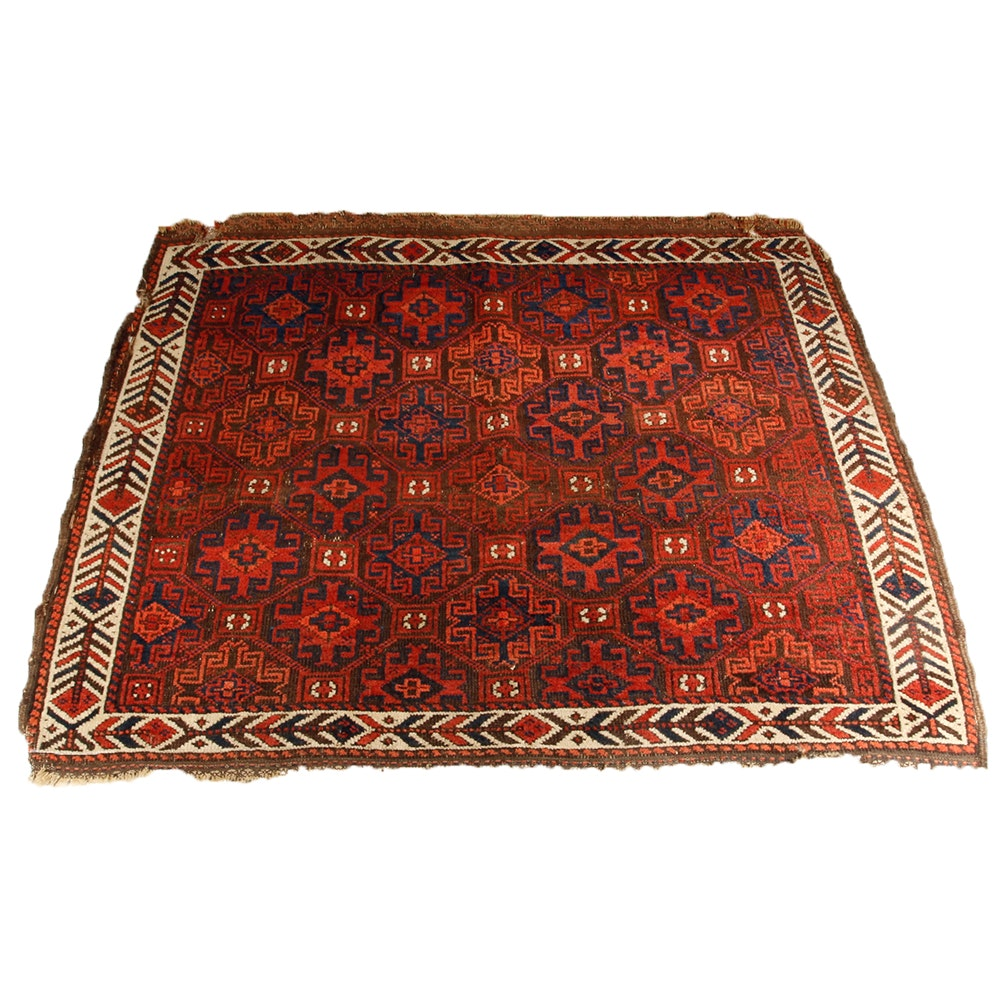 Hand Knotted Antique Baluch Wool Rug Ebth