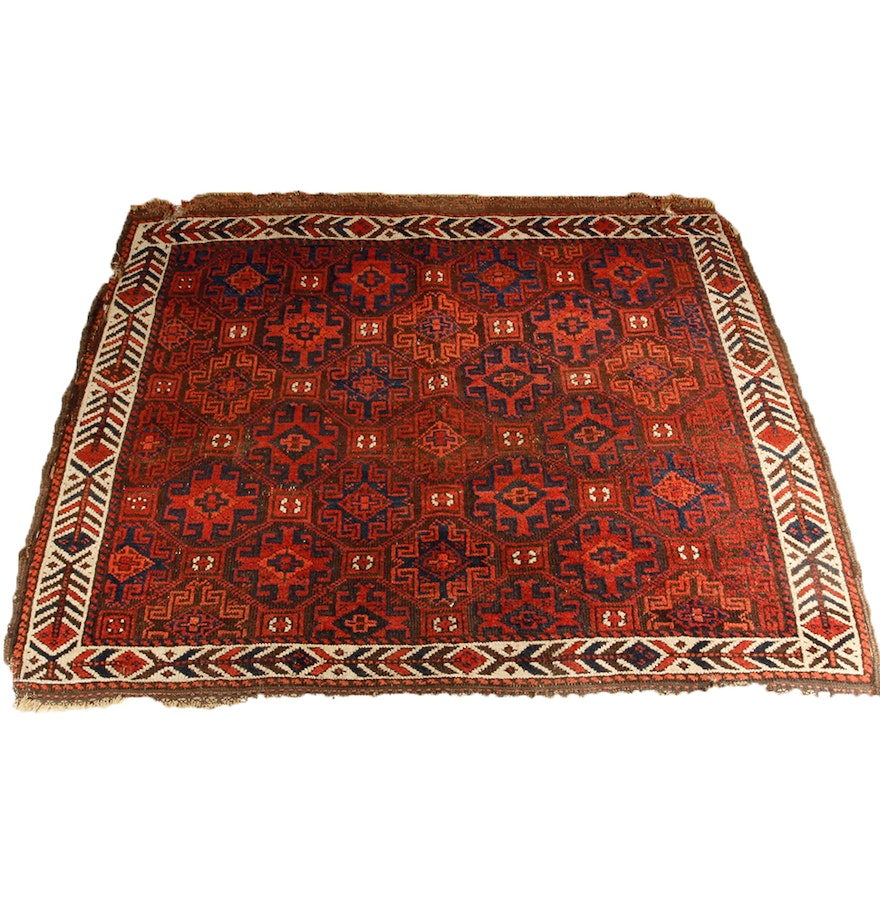 Hand Knotted Antique Baluch Wool Rug : EBTH