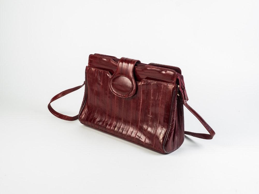 Red Eel Skin Crossbody Bag