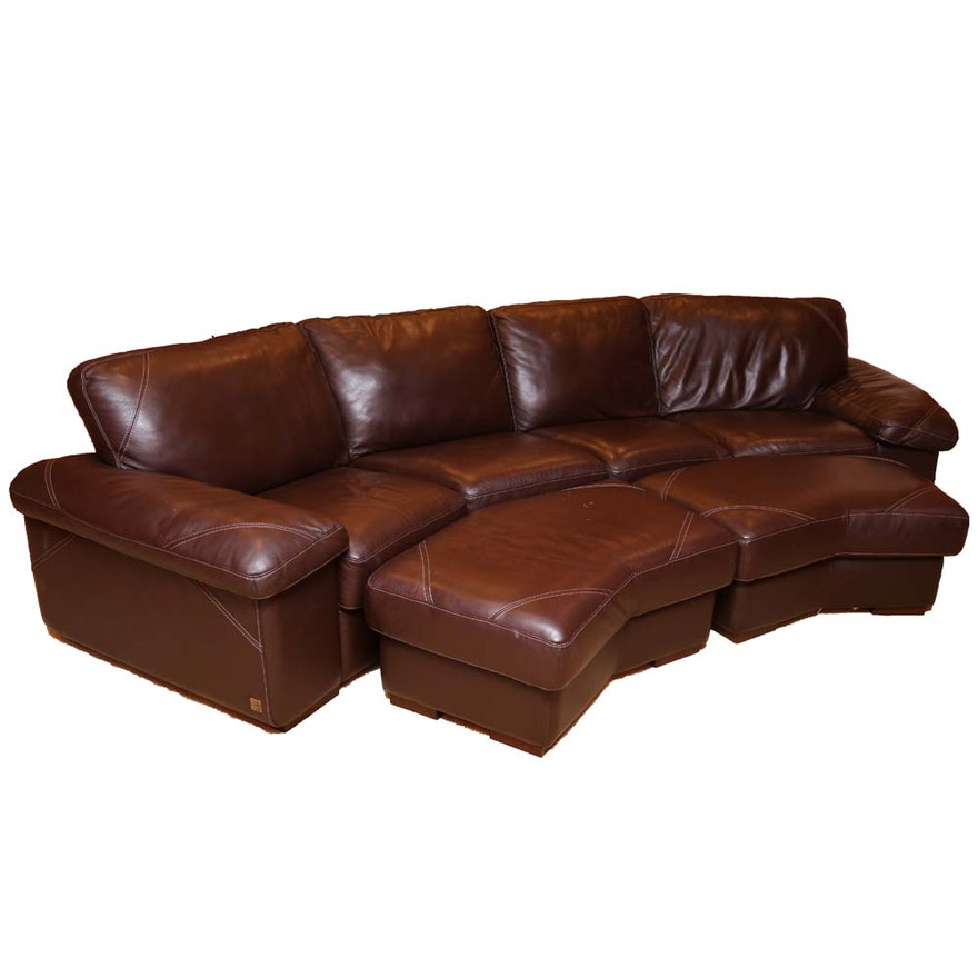 Bassett Leather Sectional Couch And Ottomans