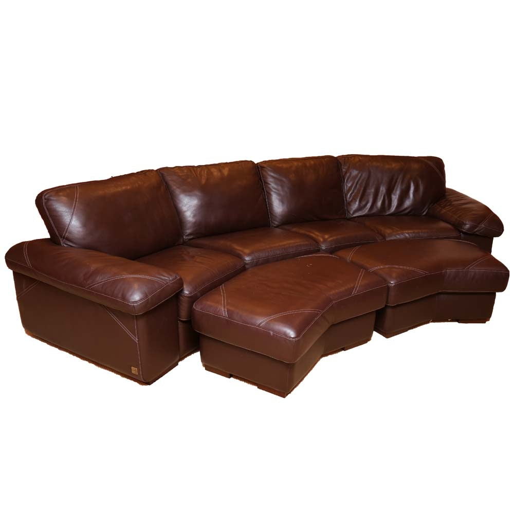 Bassett Leather Sectional Couch And Ottomans ...