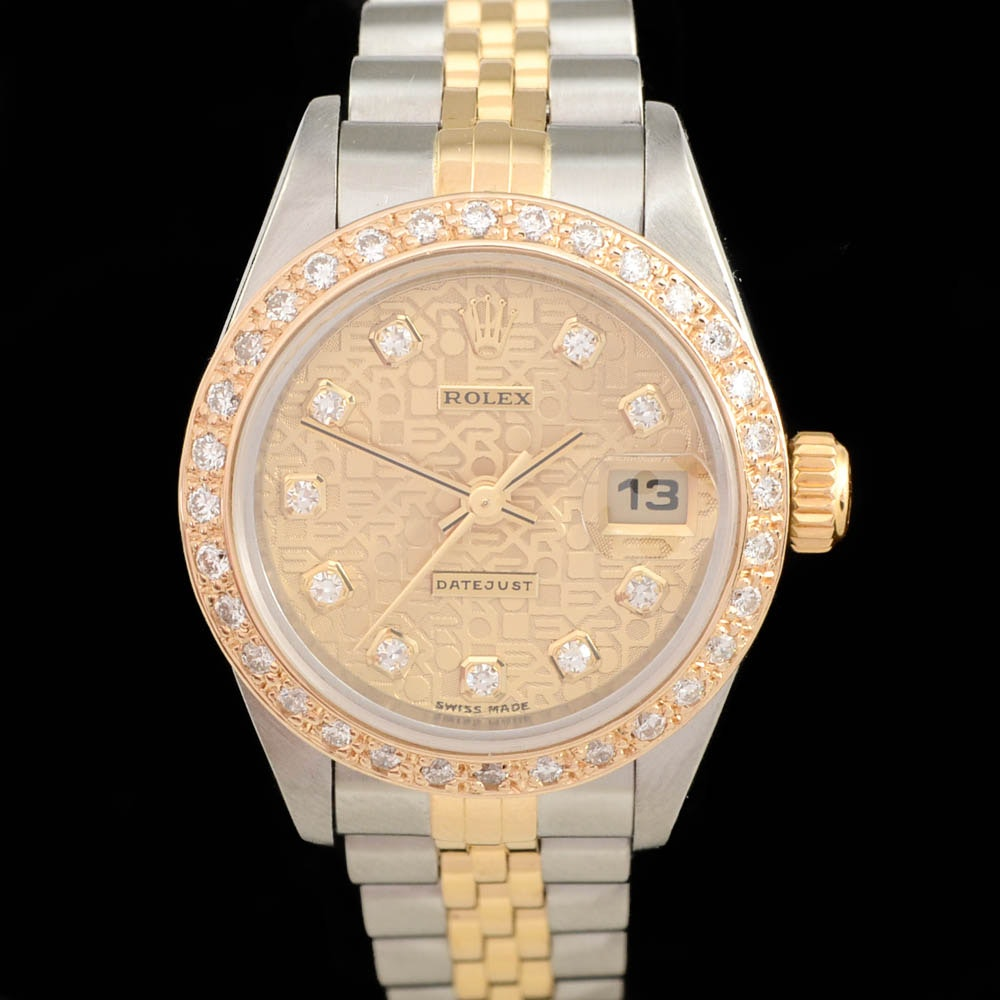 Women's Rolex Datejust Stainless Steel and 18K Yellow Gold Diamond Dial and Bezel Automatic Wristwatch