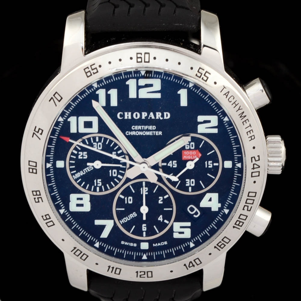 Men's Chopard Mille Miglia Chronograph Stainless Steel Black Rubber 40.5mm Automatic Wristwatch
