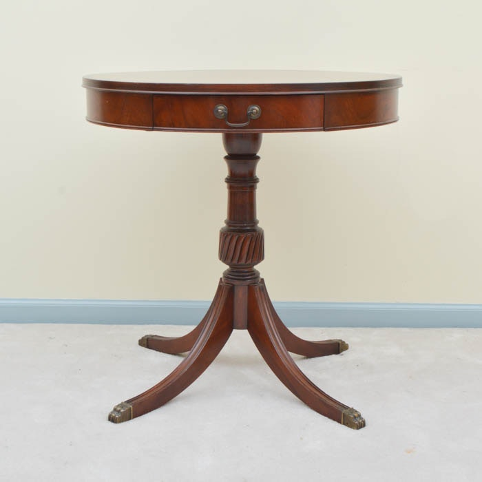 Vintage Mahogany Drum Table By Stickley Furniture ...