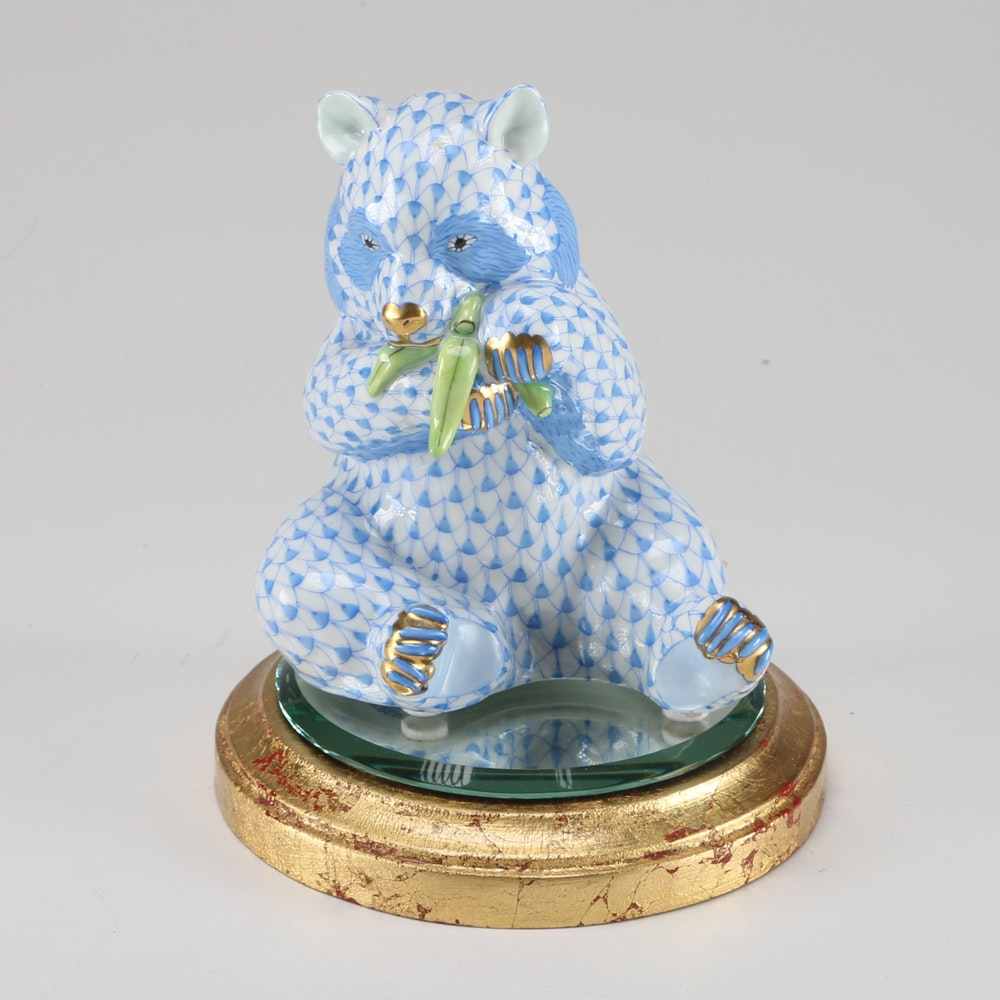 Herend Hungary Blue Panda Figurine