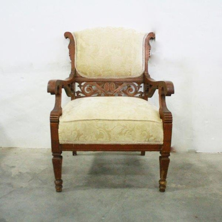 Vintage Victorian-Style Armchair with Carved Details | EBTH