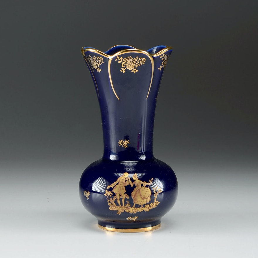 Vintage Limoges Porcelaine Garanti Veritable Dart Cobalt And Gold
