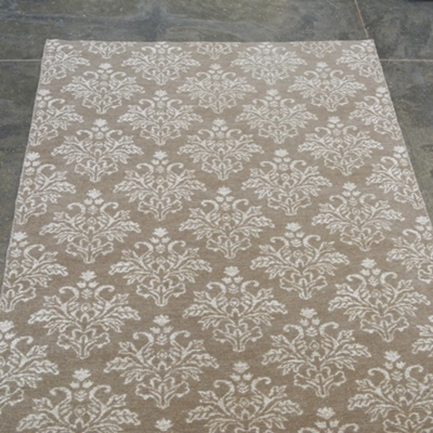 Damask Hand Woven Jacquard Reversible Flat Weave Area Rug